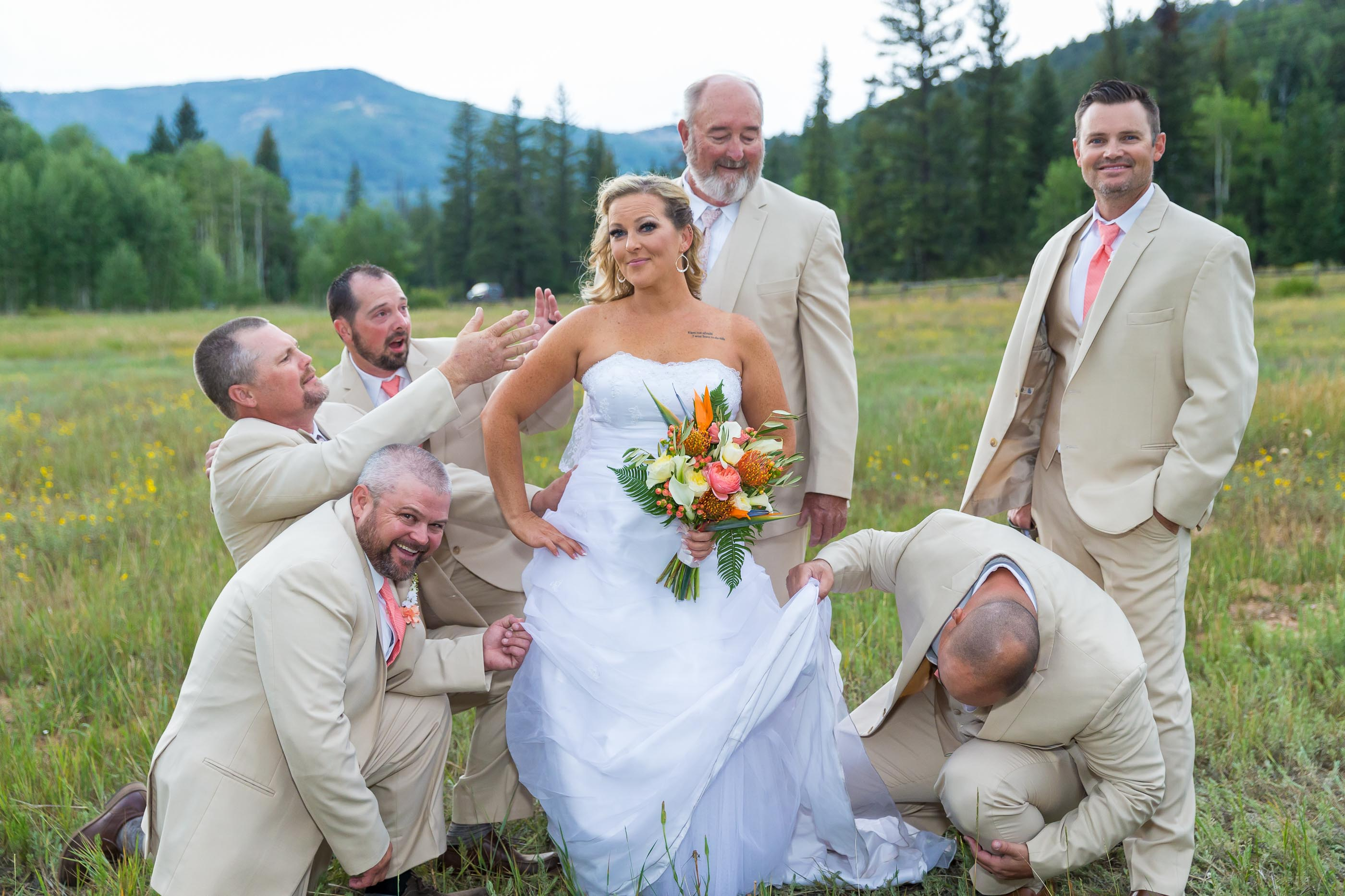Cedar City Mountain Wedding Bride with Goomsmen