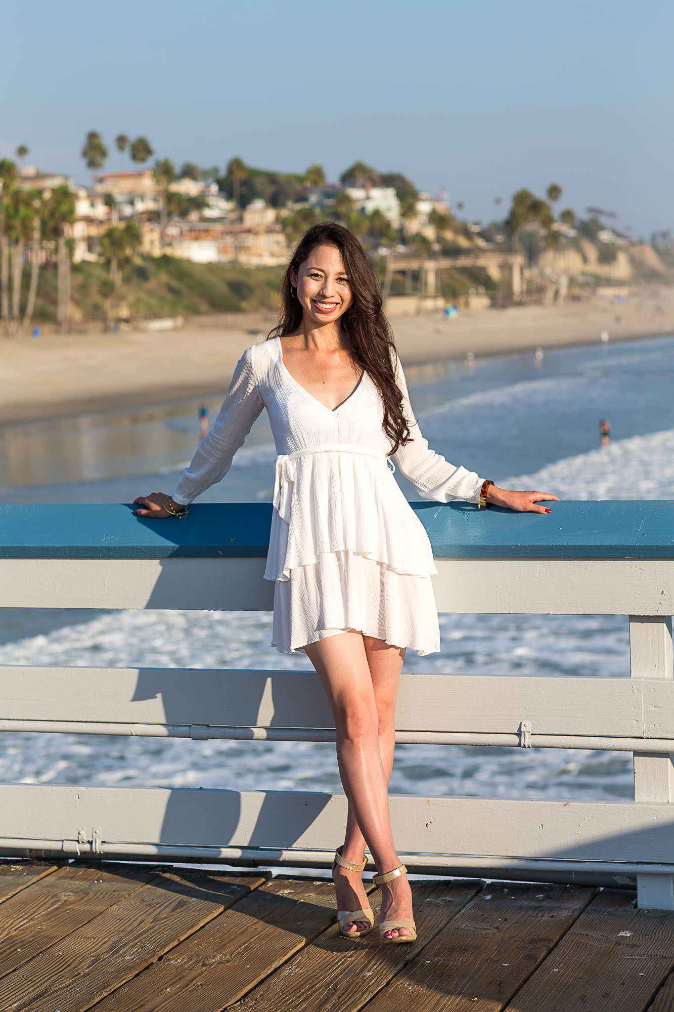 Haruka on San Clemente Pier in White Dress