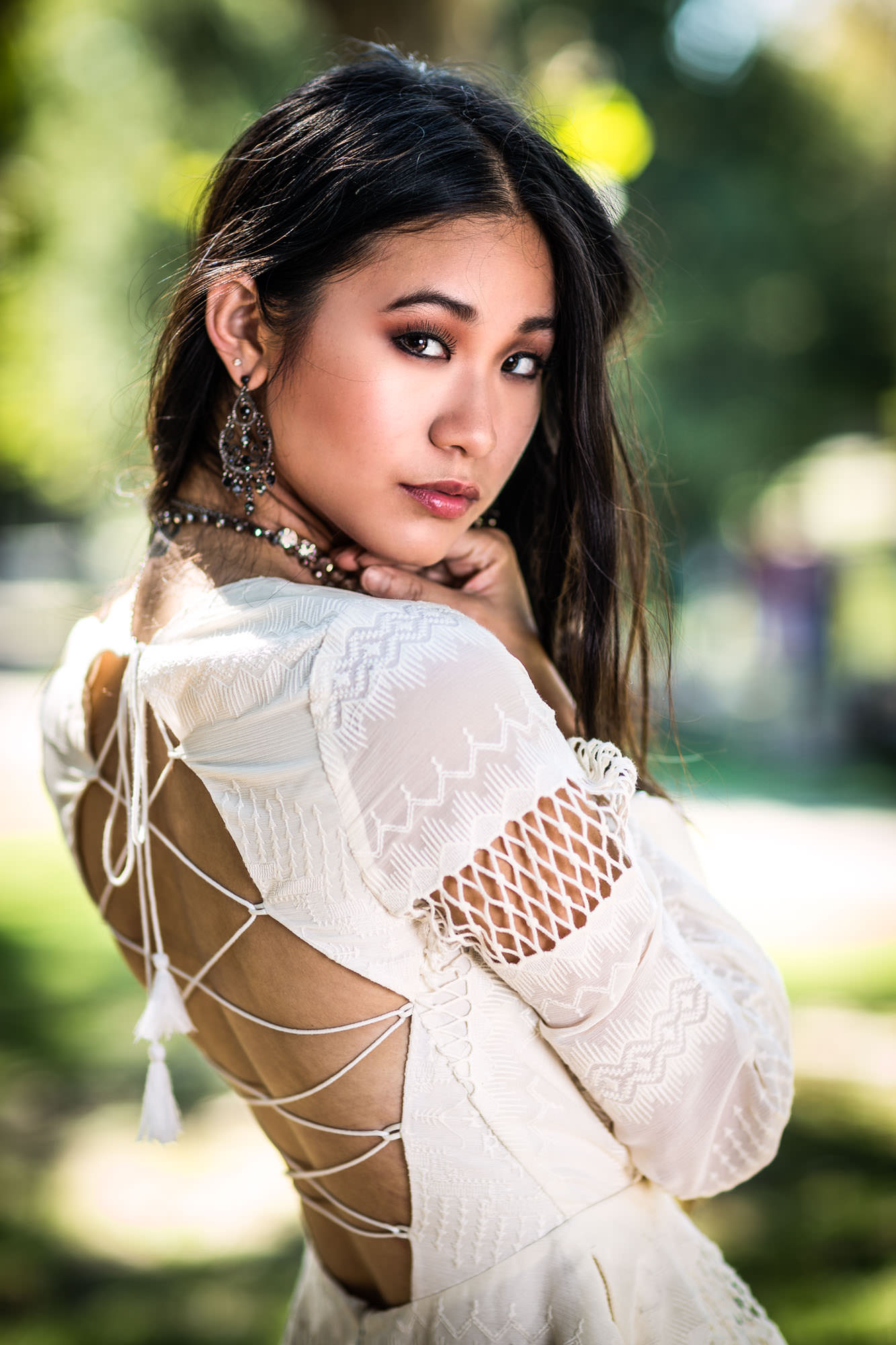 Beautiful Asian lady wearing elegant dress