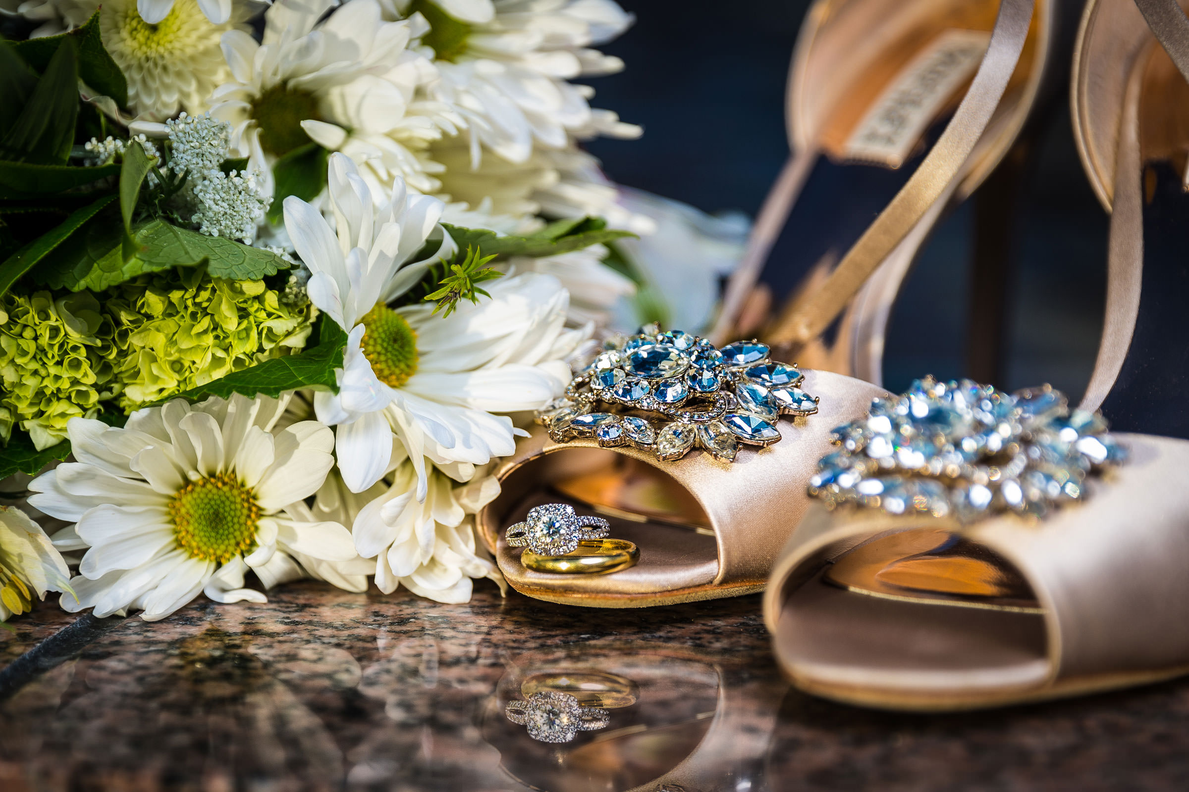 Wedding Bling with bouquet and shoes at the Newport LDS Temple