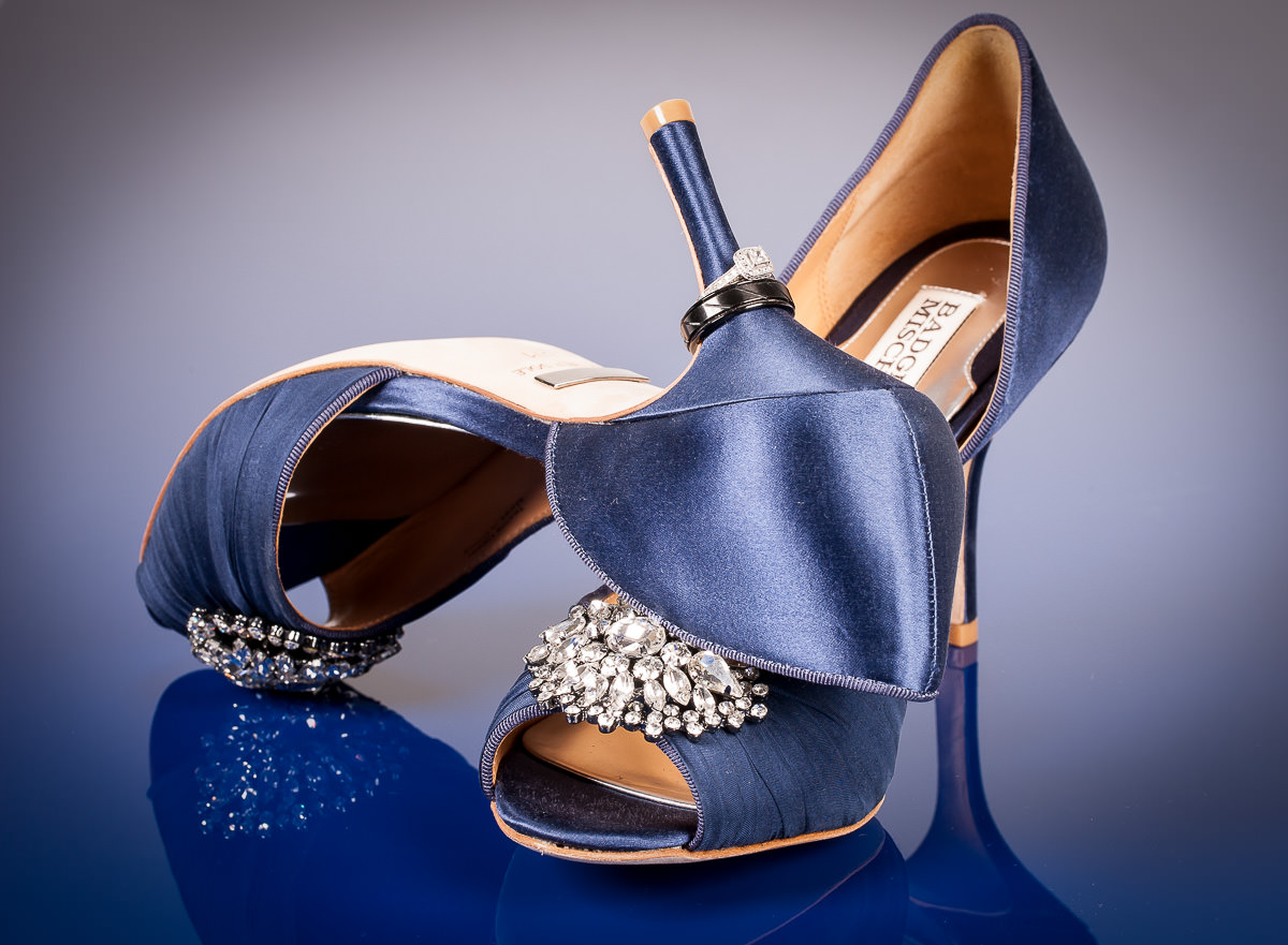 Wedding Ring on the heel stem of Cobalt Blue shoes