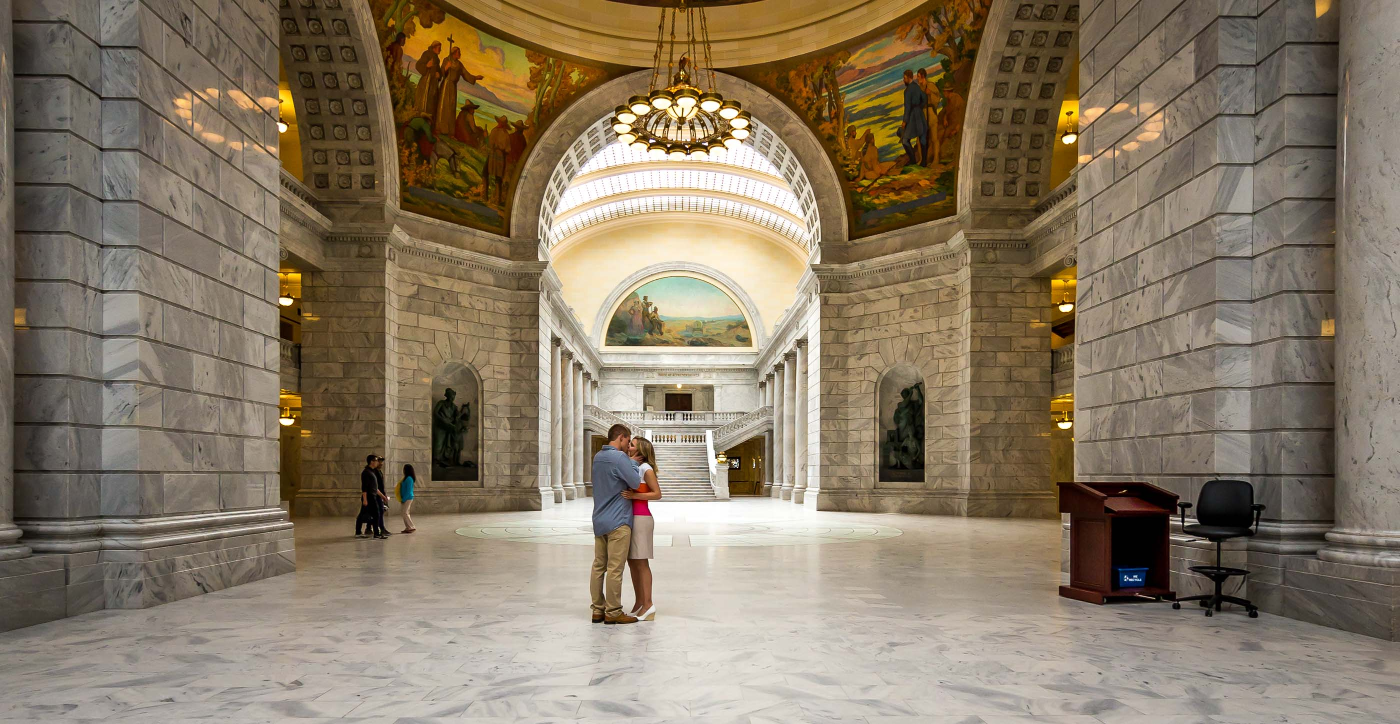 Zack Sarah Prince Engagement Cedar City on Capitol building floor